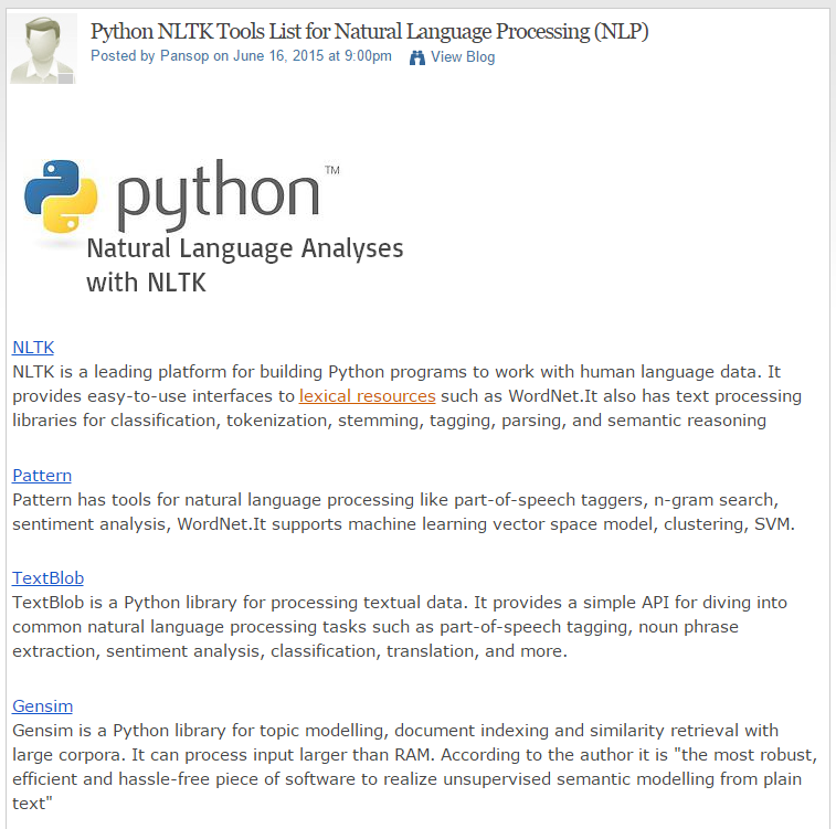 Recent overview of Python NLP resources on DataScienceCentral
